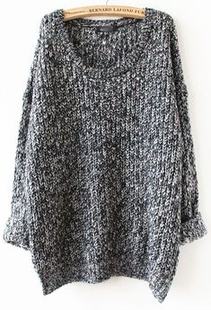 To find out about the Grey Long Sleeve Loose Sweater at SHEIN, part of our latest Sweaters ready to shop online today! Mode Outfits, Fall Outfits, Moda Fashion, Womens Fashion, Look Vintage, Loose Sweater, Grey Sweater, Comfy Sweater, Looks Style