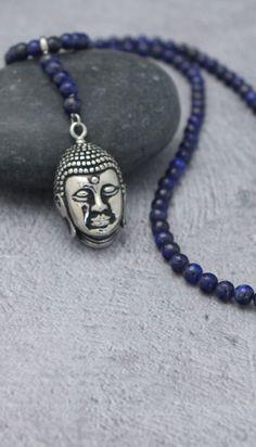 Beaded Lapis Necklace with Stainless Steel Buddha Pendant Beaded Necklace, Necklaces, Pendant Necklace, Bracelets, Buddha Jewelry, Spiritual Symbols, Buddha Head, Lapis Lazuli, Pendants