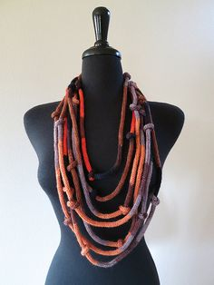 Multicolor Cords and Knots Fashion Knitted Lariat Necklace by Knitsome Studio