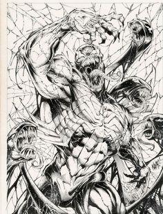 Venom Bursts Free - Nar, in Eric Wilkinson's Nar Comic Art Gallery Room - 988475 Arte Dc Comics, Marvel Comics Art, Marvel Comic Universe, Comic Book Characters, Comic Character, Comic Books Art, Comic Art, Spiderman Kunst, Venom Art