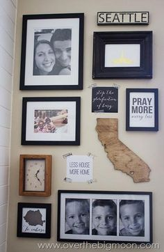 Check out this road map inspirational wall featuring fun photos of the family and their favorite vacations.