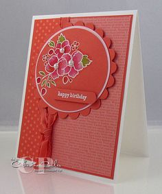 handmade card ... bleaching and watercoloring ... almost  completely monochromatic  Calypso Coral ... lovely flowers from Bodering on Romance ... variety of printed papers ,.. Stampin' Up!