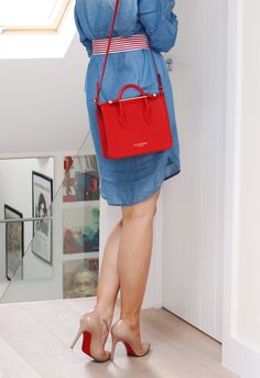 The Little Red Tote | Inthefrow Pinko Denim Shirt Dress, Strathberry of Scotland Midi Tote in Red, Christian Louboutin Pigalle 100 nude pumps,