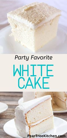White Wedding Cake - Delicious white cake with white buttercream icing. Tastes like an old-fashioned white wedding cake. Perfect recipe for those who want to make their own cakes! #recipes Homemade White Cakes, Homemade Cake Recipes, Delicious Cake Recipes, Cake Mix Recipes, Cupcake Recipes, Cupcake Cakes, Icing Recipes, Cookie Recipes, Cupcakes