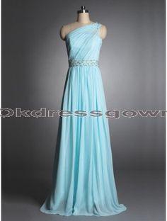 tiffany blue long chiffon one shoulder cheap prom dress, prom dresses under 150