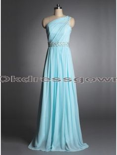 tiffany blue long chiffon one shoulder cheap prom dress, prom dresses under 150