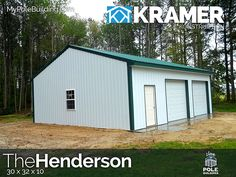 The Henderson - 30 x 32 x 10 View, configure and price this building at http://www.MyPoleBuilding.com/