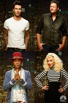 Adam Levine, Blake Shelton, Pharrell Williams, and Christina Aguilera 2015 The Voice coaches
