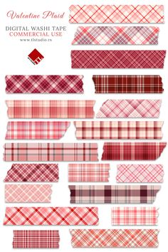 Valentine Plaid Digital Washi Tape is a collection of 20 beautiful tape clipart images. This is a perfect decoration for your digital planners. Also, the set can be used as digital stickers or borders in various personal or commercial projects. Digital Scrapbook Paper, Scrapbook Stickers, Journal Stickers, Planner Stickers, Printable Stickers, Cute Stickers, Washi Tape Planner, Bullet Journal Writing, Scrapbook Journal
