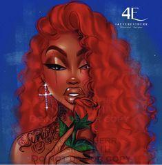 Black Love Art, Black Girl Art, Art Girl, Black Girl Red Hair, Drawings Of Black Girls, Black Art Pictures, Girl Artist, Brown Art, Magic Art