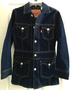 Levi's Long Iconic Jacket M Type 1 Dark Blue Indigo Denim Orange Stitch Western #Levis #JeanJacket