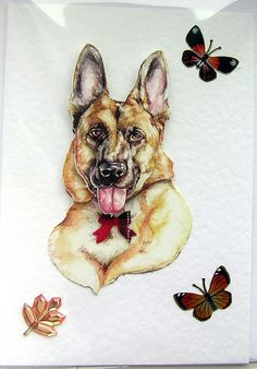 German Shepherd Dog HandCrafted 3D Decoupage Card by SunnyCrystals, £1.45. Use Coupon Coder SUMMER2012 for 20% Discount