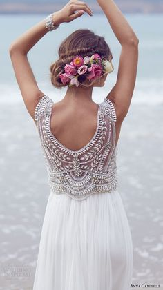 anna campbell 2015 bridal dresse sleeveless scoop neckline embellished boeidce silk tulle romantic wedding dress madison back view close up -- Anna Campbell Wedding Dresses