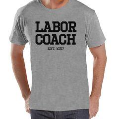 Pregnancy Announcement - Labor Coach Shirt - Mens Grey T Shirt - Pregnancy Reveal Idea - Surprise New Grandparents - Pregnancy Gift Idea