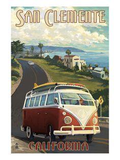 San Clemente, California - VW Van Cruise Print by Lantern Press at Art.com