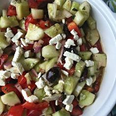 A quick to make salad with fresh cucumbers, tomatoes and onions with a Greek twist – fresh and fantastic! Greek Style Cucumber Salad from An Affair from the Heart Greek Cucumber Salad, Cucumber Salsa, Greek Salad Recipes, Crock Pot Cooking, Cooking Recipes, Healthy Recipes, What's Cooking, Easy Recipes, Healthy Food
