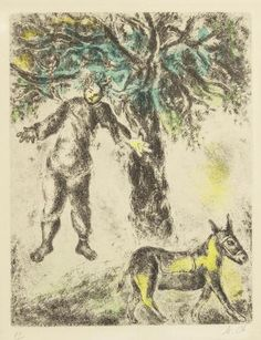 Marc Chagall (Russian/French, 1887-1985) Plate 72, from the Bible (Cramer books 30) Etching with hand colouring, 1958, on Arches, initialled and numbered 87/100 in pencil, published by Tériade, Paris, with wide margins, 312 x 242mm (12 1/4 x 9 1/2in)(PL)