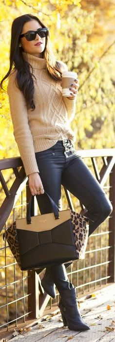 Stylish Street Fashion:Leather Pants with Long  LEather Boots ,Sweater with Leopard Handbag