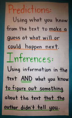 Predictions and Inferences anchor chart- fourth grade