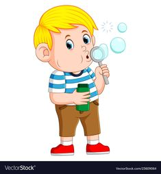 Cute boy is playing and blowing the bubble vector image on VectorStock E Bible, Bubble Boy, Action Verbs, Book Corners, Blowing Bubbles, Painting Workshop, Teaching Aids, Kids Prints, Nursery Art