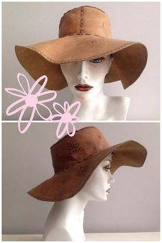 9596478bc79 Flower Power Boho Vintage Leather Hat   Hippie Festival Shade Leather Hats