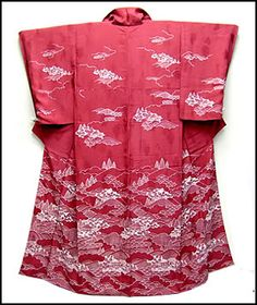 Graduated Scenery Kimono.  A pure silk, Japanese kimono, in deep pink, with graduated scenery.  This will have many thousands of  pounds (£) when new.  From www.wafuku.co.uk