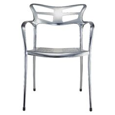 "Design: Paco Escoda  Icon is a true Thompson Contract classic. With a unique shape, stacking capability, and a frame in either matte or gloss aluminum, the design is perfect for setting the tone of any indoor or outdoor environment.  <em>Side chair</em> Dimensions: 22""W, 21.5""D, 31""H Seat Height: 18"" Arm Height: 25.5"" Weight: 14 lbs. Frame: Gloss/matte anodized aluminum Stacks: 4  Base LIST price: $1,053"
