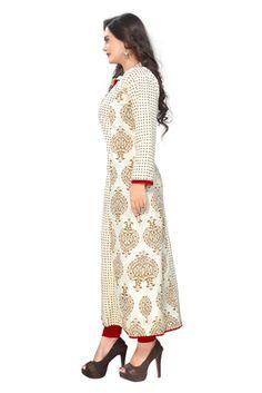 White printed cotton kurti - Vaikunth Fabrics - 2738898