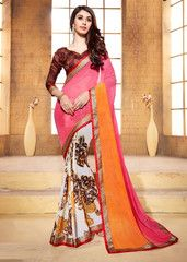 Off White, Pink & Orange Color Georgette Casual Party Wear Sarees : Vaibhavi Collection  YF-38306