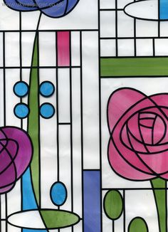 like this pattern Stained Glass Flowers, Stained Glass Mosaic, Charles Rennie Mackintosh, Glass Design, Glasgow School Of Art, Mackintosh, Glass Art, Craft Images, Arts And Crafts Movement