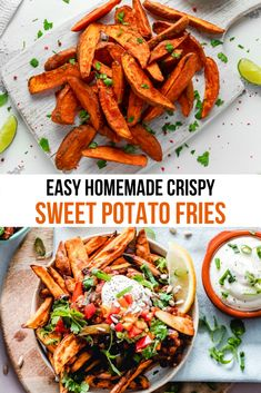 Anyone can make crispy and delicious sweet potato fries at home. You just need a few tips to help. Follow along this easy crispy sweet potato recipe. They make a perfect side dish for so many meals and you can top them with leftovers or other goodies from your fridge and make loaded sweet potato fries that will disappear in minutes. #SweetPotatoFries #SweetPotato #Recipe