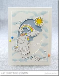 Pretty Unicorn Card by Barbara Anders featuring Birdie Brown Magical Unicorns stamp set and Die-namics, Stitched Cloud Edges and Inside & Out Stitched Oval STAX Die-namics Baby Cards, Kids Cards, Unicorn Birthday Cards, Rainbow Card, Unicorn Crafts, Mft Stamps, Marianne Design, Magical Unicorn, Animal Cards