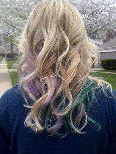 Purple & Green on blond hair- Mardi Gras Hair