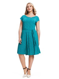 Cap Sleeve Ilana Dress In Jade Dot