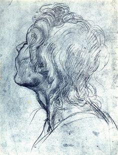Andrea del Sarto (1486–1530) : : head study : : black pencil on toned paper
