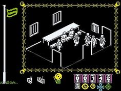The Great Escape (1986) - Ok, I loved this game. I was only 6 years old at the time, had no idea what was going on, and just liked running away from the Nazis and hiding in the tunnel under the stove, but who cares. The mono graphics were amazing for the time, and walking around at night trying to avoid the search lights, brilliant. A classic arcade adventure of using the right objects at the right time to try and do a runner from the Boche.