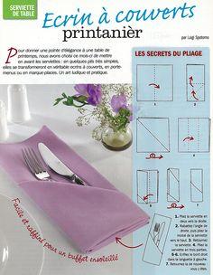 99 meilleures images du tableau pliage serviettes cloth pads napkin folding et napkin holders - Pliage serviette porte couvert ...