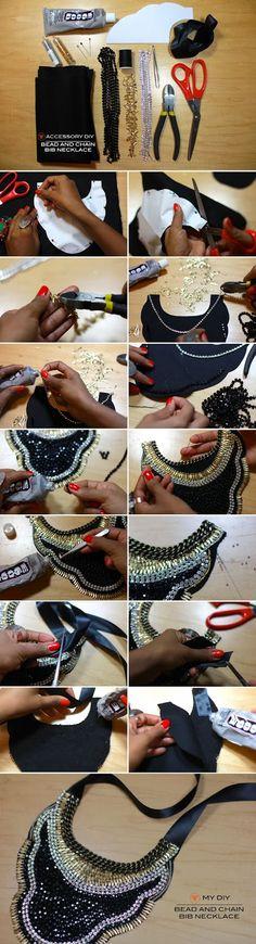Opinando Moda: Ideias para fazer bijuterias em casa / Bead and chain bib necklace #accessory #diy