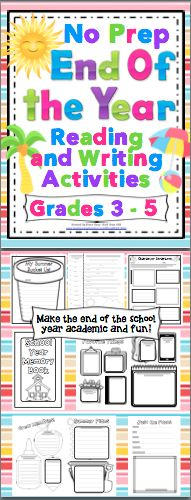 End of the Year, No Prep Reading and Math Activities: Make the end of the school year academic and fun with this no prep pack of reading and writing activities. This pack is loaded with fun and engaging end of the year activities! $