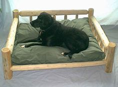 bed for a large sized dog. I would change the green color but the wood is a neat idea!