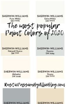 These are the most popular paint colors of They are the perfect shades of neutral for that Joanna Gaines farmhouse look we all love. If you are wanting to find the perfect color for your kitchen and living room look no further.