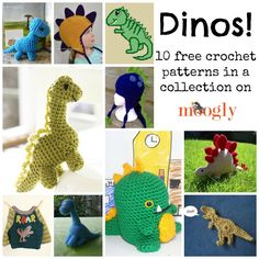 10 Free Crochet Dinosaur Patterns in a Collection on Moogly! ༺✿ƬⱤღ  https://www.pinterest.com/teretegui/✿༻