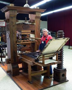 Recreated Gutenberg press at the International Printing Museum, Carson, California