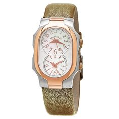 Philip Stein Women's 1TRG-Fmop-Cshg 'Signature' Mother of Pearl Gold Strap Two Tone Quartz Watch