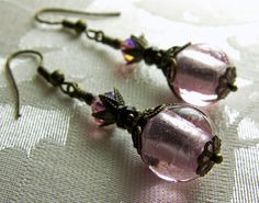 Rose Pink and Black Crystal Bronze Earrings by TitanicTemptations, $28.00