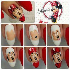 Gel or acrylic nails, Short nails dip powder. Nail Art Modele, Nail Art Dessin, Xmas Nails, Diy Nails, Cute Nails, Trendy Nails, Minnie Mouse Nails, Mickey Mouse Nails, Crazy Nail Art