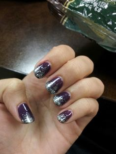 French-tipped silver glitter shellac with rock royalty