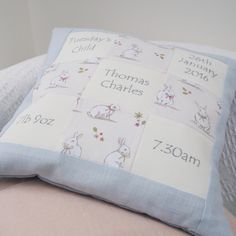 """Personalised Bunny Memory Cushion """"The perfect memory cushion to suit any baby or child. Providing your child's name, date of birth, time of birth, weight Baby Bunnies, Bunny, Patchwork Cushion, Handmade Cushions, Printed Cushions, Memorial Gifts, Kid Names, Special Gifts, New Baby Products"""