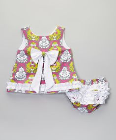 Another great find on #zulily! Pink & Green Damask Swing Top & Diaper Cover - Infant #zulilyfinds