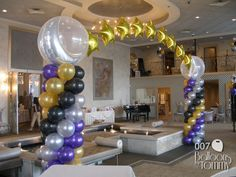 Purple Black and Gold balloon arch with Stars   Balloons by Tommy   #balloonsbytommy